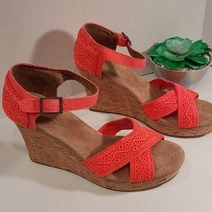 Toms Sienna Neon Cork Wedge Ankle Strap Sandals